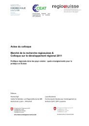 Actes du colloque Marché de la recherche regiosuisse & Colloque ...