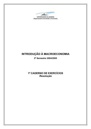 INTRODUÇÃO À MACROECONOMIA - Universidade da Madeira