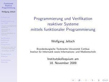 Programmierung und Verifikation reaktiver Systeme mittels ...