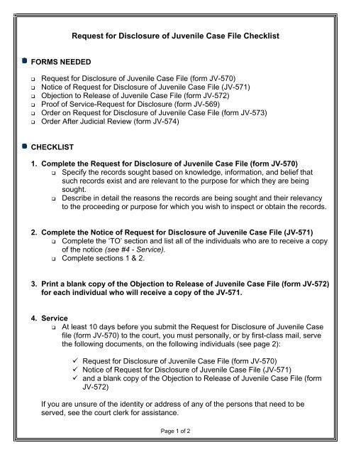 Request for Disclosure of Juvenile Case File Checklist