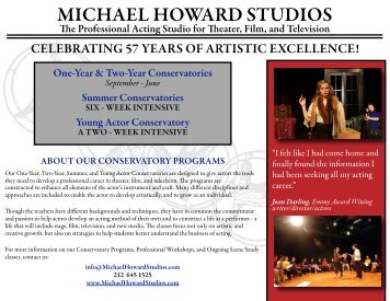 Conservatory Brochure - Michael Howard Studios