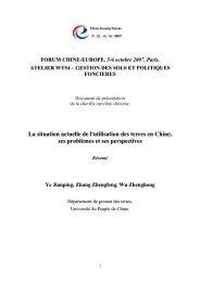 La situation actuelle de l'utilisation des terres en Chine, ses ... - aGter