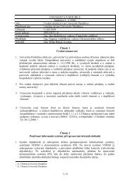 1 z 8 UNIVERZITA PARDUBICE Směrnice č. 6 /2010 Věc - Dokumenty