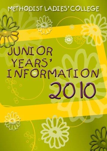 JUNIOR YEARS - Methodist Ladies' College