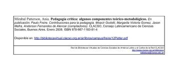 Pedagogía crítica: algunos componentes teórico-metodológicos.