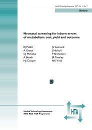 Neonatal Screening for Inborm Errors of Metabolism