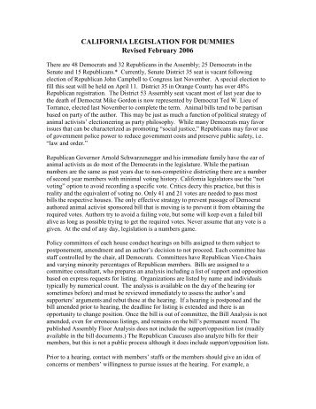 CALIFORNIA LEGISLATION FOR DUMMIES Revised February 2006