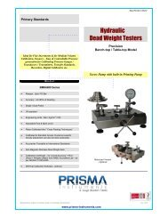 Hydraulic Dead Weight Testers - Prisma Instruments