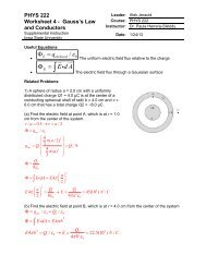 PHYS 222 Worksheet 4 Gauss's law and Conductors Answers