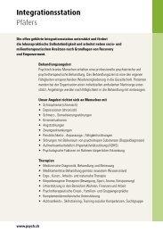 Integrationsstation Pfäfers - Psychiatrie-Dienste Süd