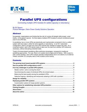 Parallel UPS configurations - Eaton Corporation