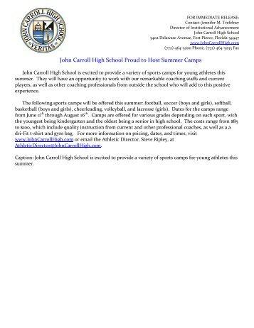 John Carroll High School Proud to Host Summer Camps