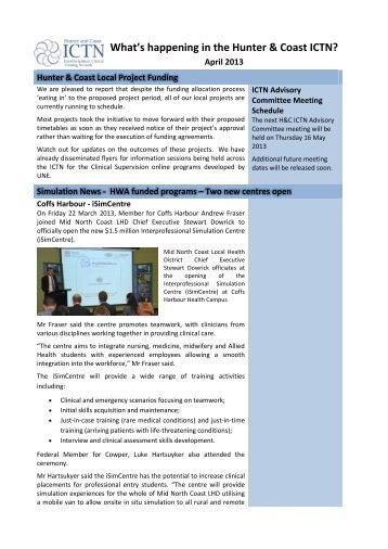 Hunter and Coast ICTN Newsletter Apr 2013 - HETI