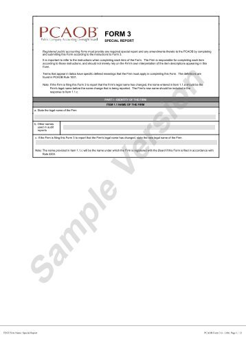 Form 3: Special Report - Public Company Accounting Oversight Board
