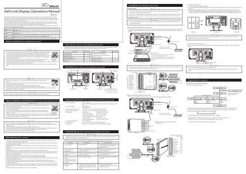 Defi-Link Display Manual