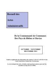 Recueil des Actes Administratifs - CCPRO
