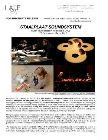 STAALPLAAT PRESS RELEASE - LACE