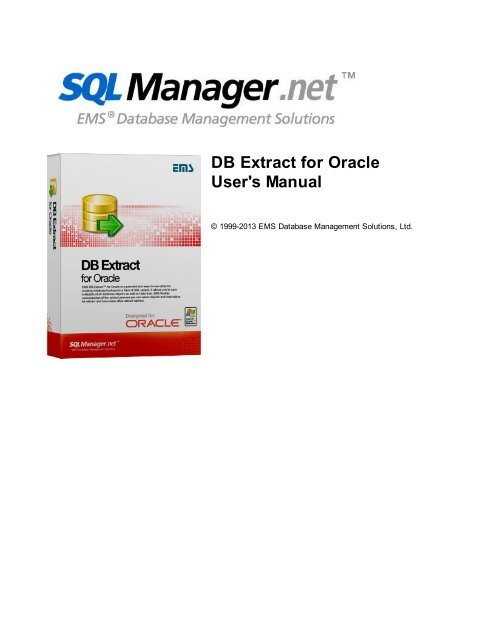 DB Extract for Oracle - User's Manual - EMS Manager