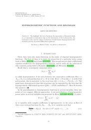 HYPERGEOMETRIC FUNCTIONS AND BINOMIALS 1 ... - INMABB