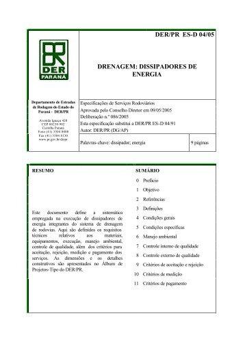 DER/PR ES-D 04/05 DRENAGEM: DISSIPADORES DE ENERGIA
