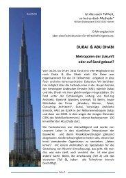 DUBAI & ABU DHABI Metropolen der Zukunft oder auf Sand gebaut?