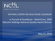 Presentation - National Center for Healthcare Leadership