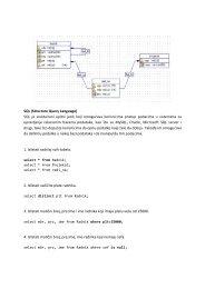 SQL (Structure Query Language) SQL je sruktuirani upitni jezik koji ...