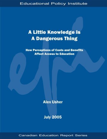 A Little Knowledge is a Dangerous Thing: How Perceptions of Costs ...