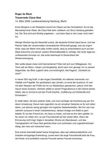 trauerrede von roger de weck willy brandt kreis - Trauerreden Beispiele