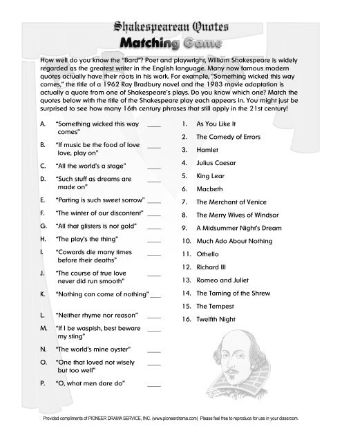 shakespearean quotes matching game