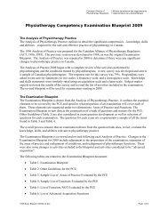 Exam Blueprint - Canadian Alliance of Physiotherapy Regulators