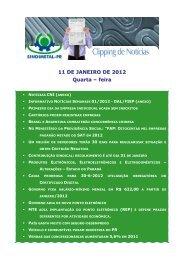 11 DE JANEIRO DE 2012 Quarta – feira - Sindimetal/PR