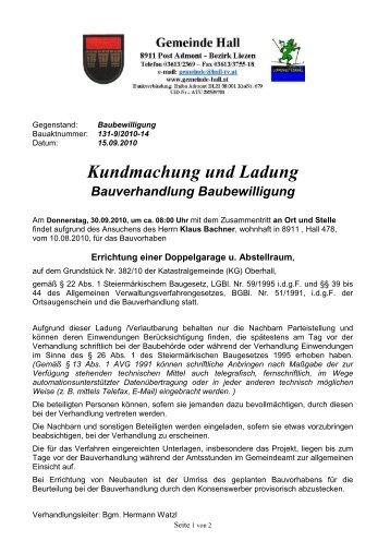 Kundmachung und Ladung Bauverhandlung ... - Gemeinde Hall