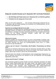 Zielpunkt verwöhnt Kunden am 8. Dezember 2011 mit Gratis ...