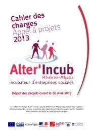 Cahier des charges appel à projet 2013 - URSCOP Rhône-Alpes