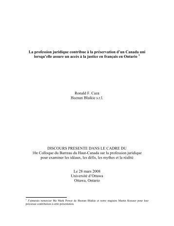 Ronald F. Caza La profession juridique contribue à la préservation d ...