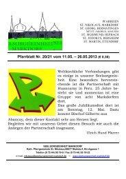 Pfarrblatt Nr. 20/21 vom 11.05. – 26.05.2013 - Seelsorgeeinheit ...