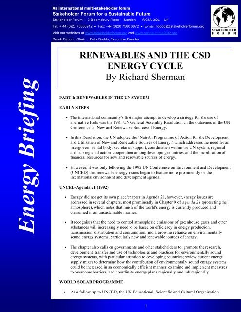 Renewables and the CSD Energy Cycle - Stakeholder Forum