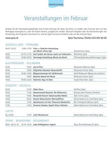 Veranstaltungen im Februar