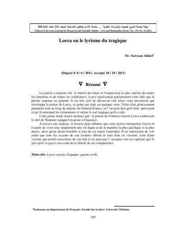 Lorca ou le lyrisme du tragique