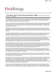 20 April 2012 Fitch affirms CJSC DenizBank Moscow at 'BBB-'