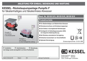 KESSEL-Rückstaupumpanlage Pumpfix®-F für fäkalienhaltiges und ...