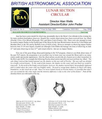 Vol 41, No 8, August 2004 - BAA Lunar Section