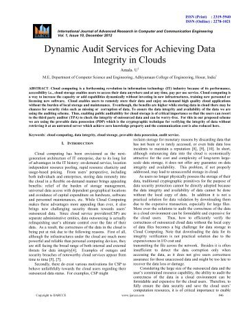 Dynamic Audit Services for Achieving Data Integrity in ... - Ijarcce.com