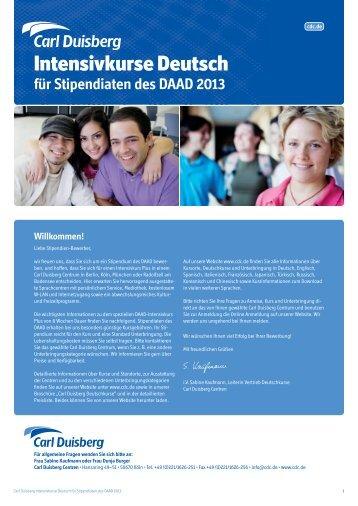 Intensivkurse Deutsch für Stipendiaten des DAAD 2013