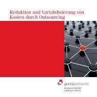 Reduktion und Variabilisierung von Kosten durch Outsourcing