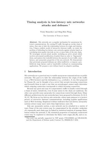 Timing analysis in low-latency mix networks - University of Texas at ...