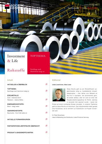Investment & Life Rohstoffe - Infoboard