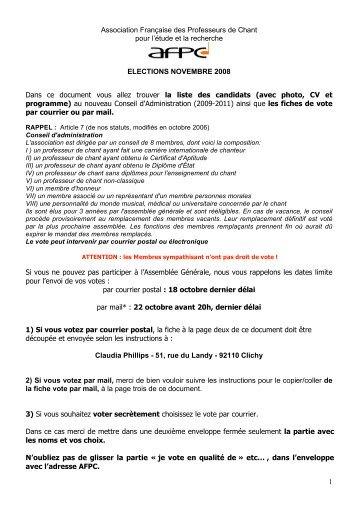 ELECTIONS du CONSEIL d'ADMINISTRATION (2008 ... - Index of
