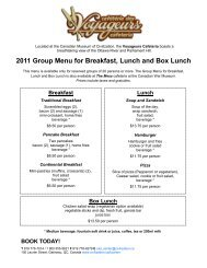 2011 Group Menu for Breakfast, Lunch and Box Lunch - Canadian ...